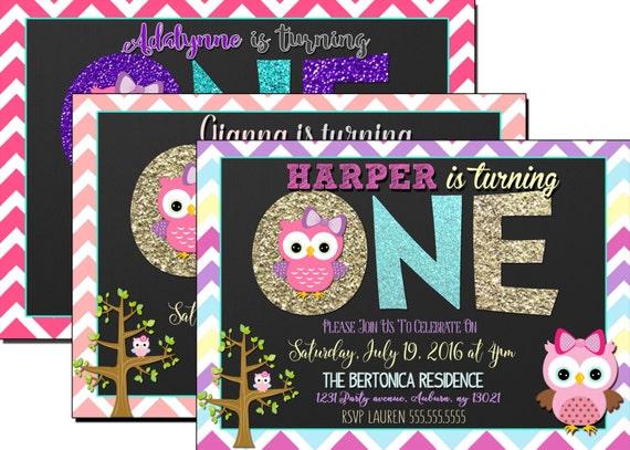 Owl Birthday Invitation Custom Owl Invite Girls Owl Bday Etsy