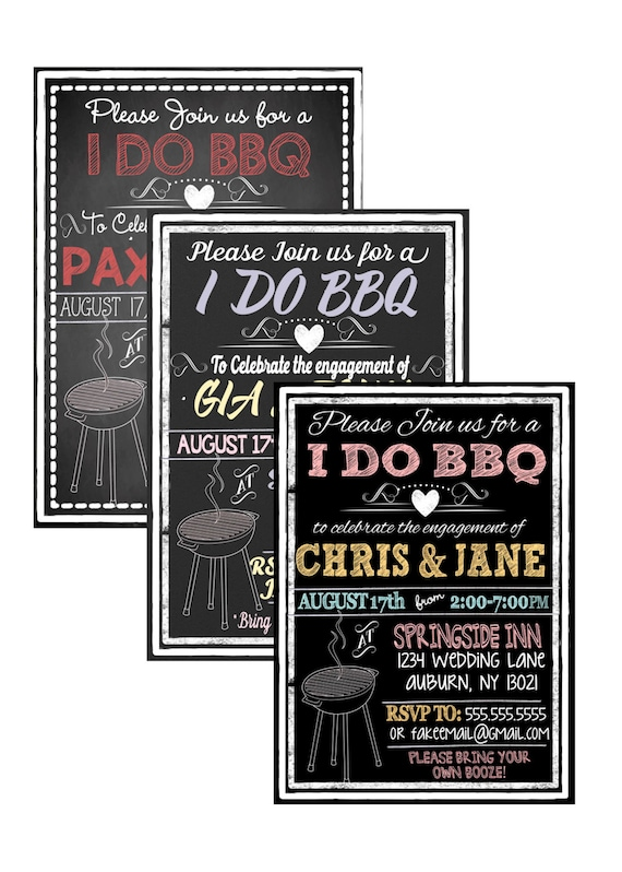 Modern I Do Bbq Invites Engagement Party Invitations