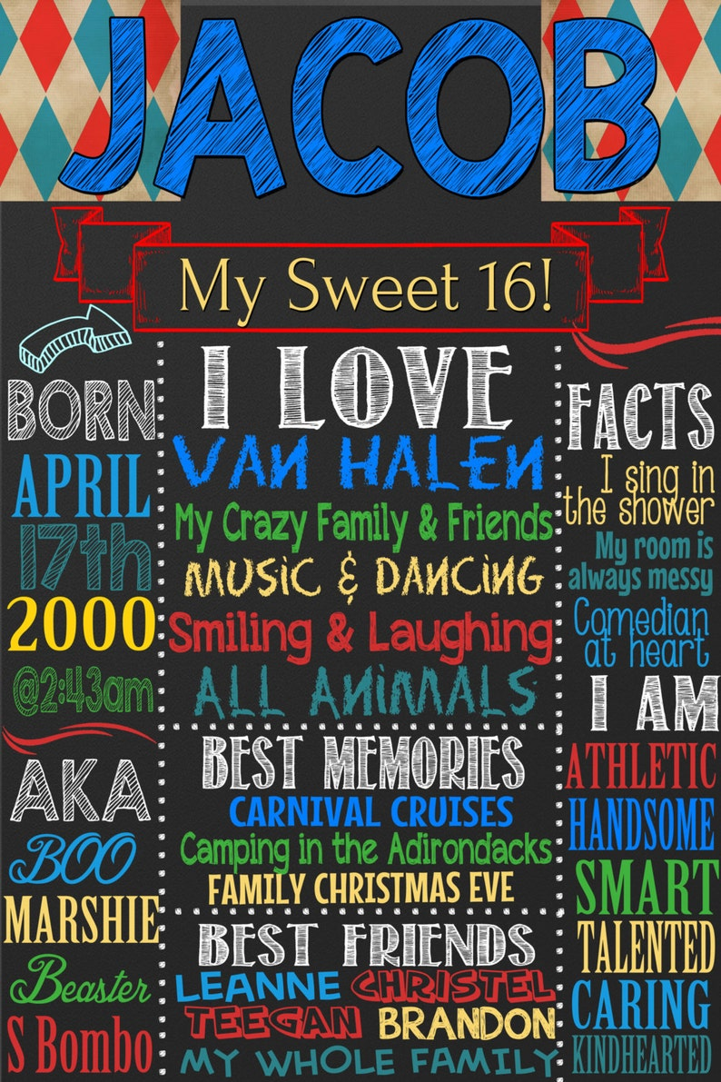 Sweet 16 Birthday Board, boys 16th birthday, sixteen years old, sixteenth  birthday party signs, 16 years old chalkboard style