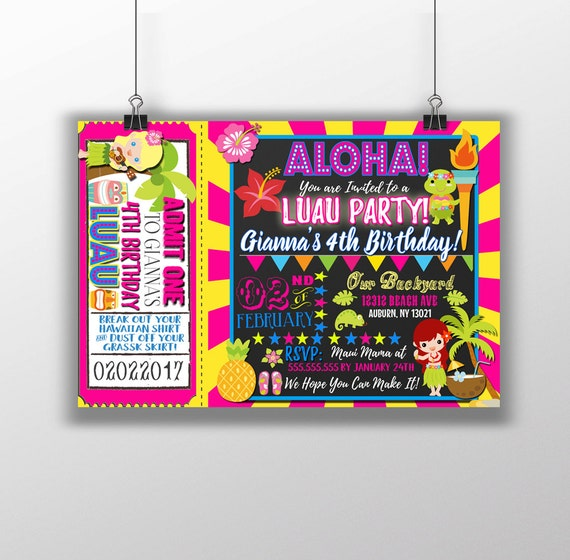 luau invitations luau birthday party invitations hawaiian etsy