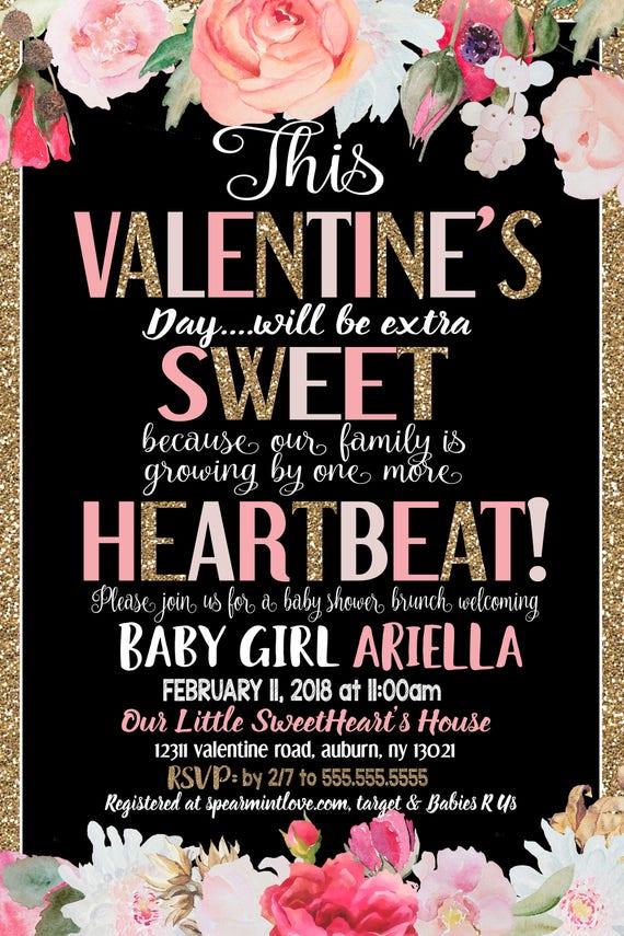 Valentines Day Baby Shower Invitations Valentines Shower Etsy