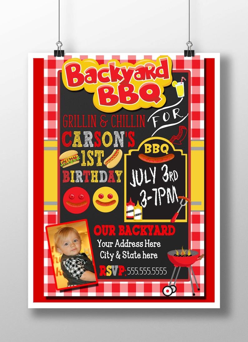 Bbq Birthday Invitation 1st Backyard Party