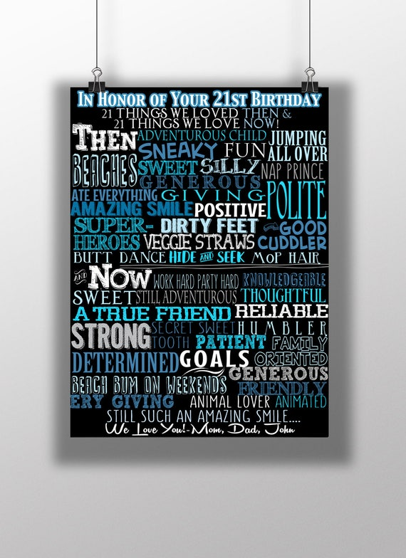 21 Reasons We Love You Sign Unique 21st Birthday Gift