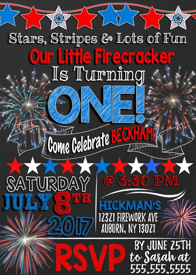 Invite For 4th Of July Birthday Party Red White And Blue Invitations American Bday Decor Summer 1st INVHDY01