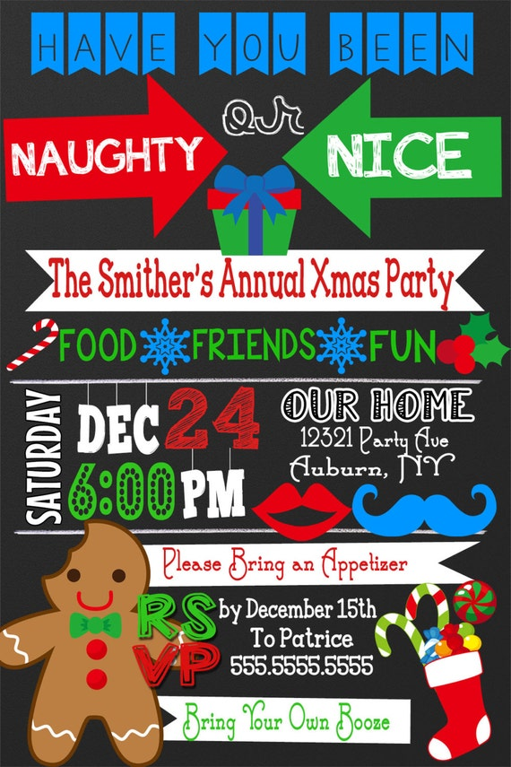 Naughty or Nice Christmas Party invitations naughty or nice | Etsy