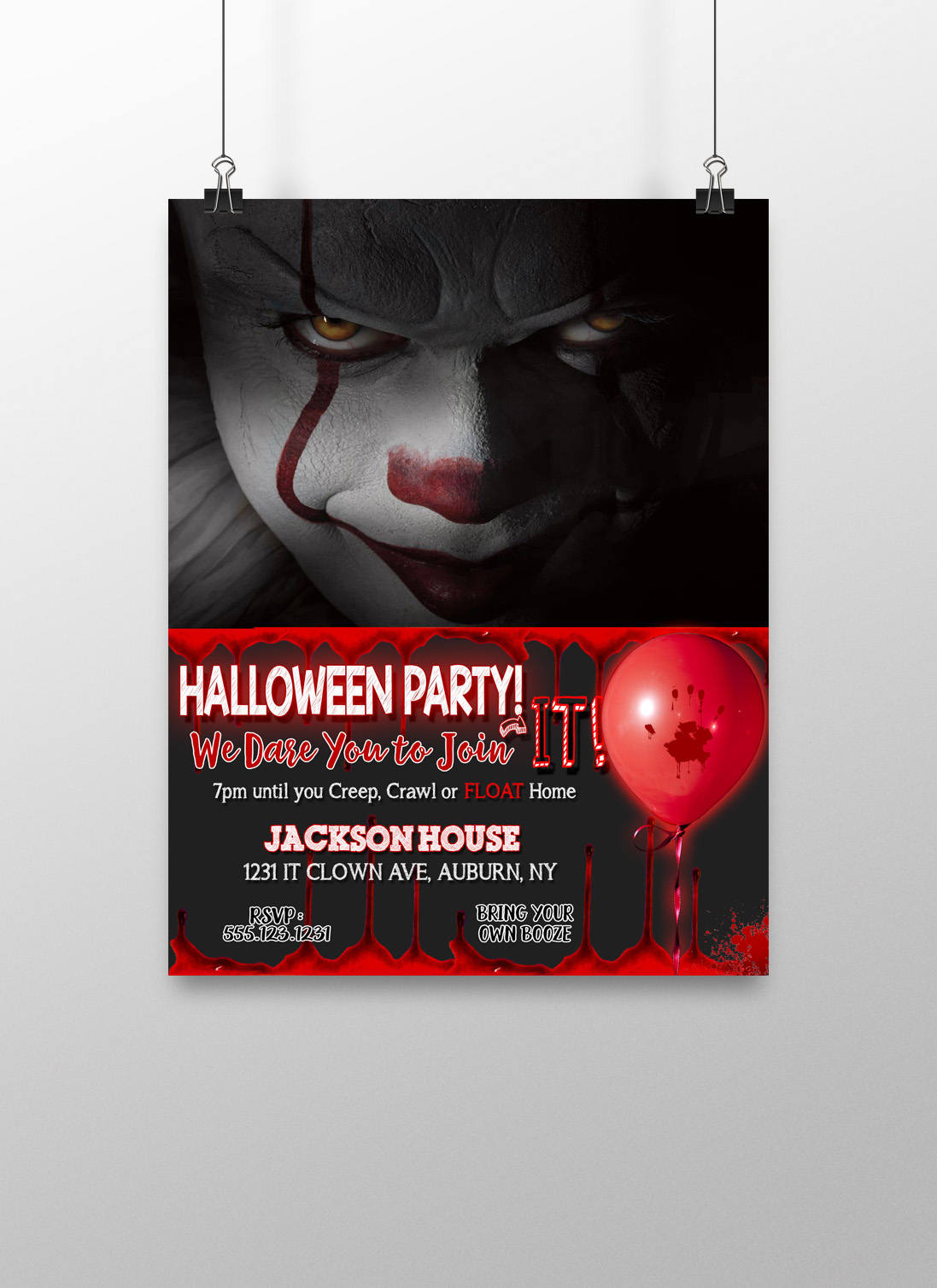 Clown invitations scary clown party invites scary clown   Etsy