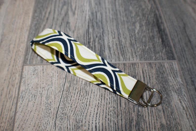 Green and Navel Blue Oval Design  Key Fob  Durable Wristlet  Key Chain