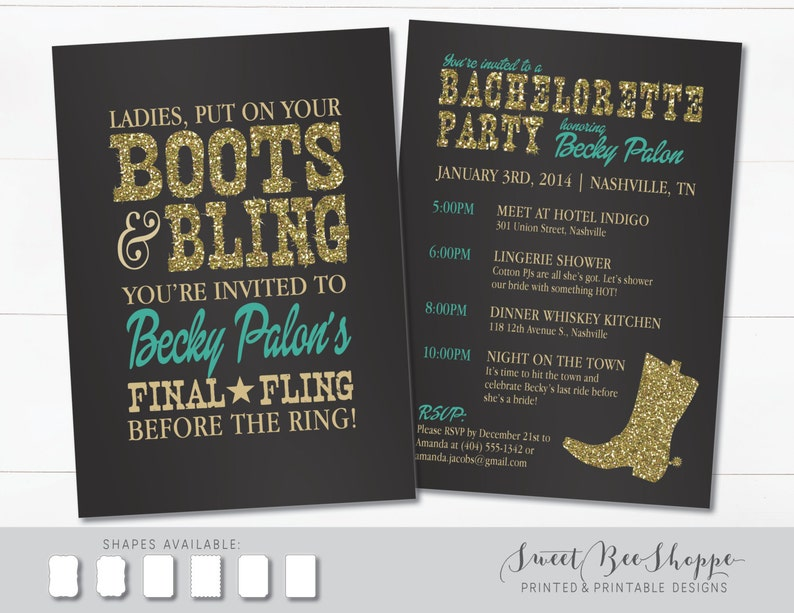Country Western Bachelorette Party Invitation Boots Bling Invite Saloon Cowgirl Printable Digital File