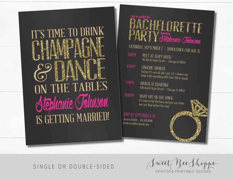 Bachelorette Invitation Bachelorette Party Invite Drink Etsy