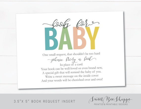 Baby Shower Book Request Cards Baby Shower Bring A Etsy