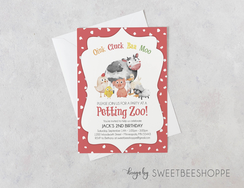 Petting Zoo Birthday Invitation Petting Zoo Invite Kids   Etsy