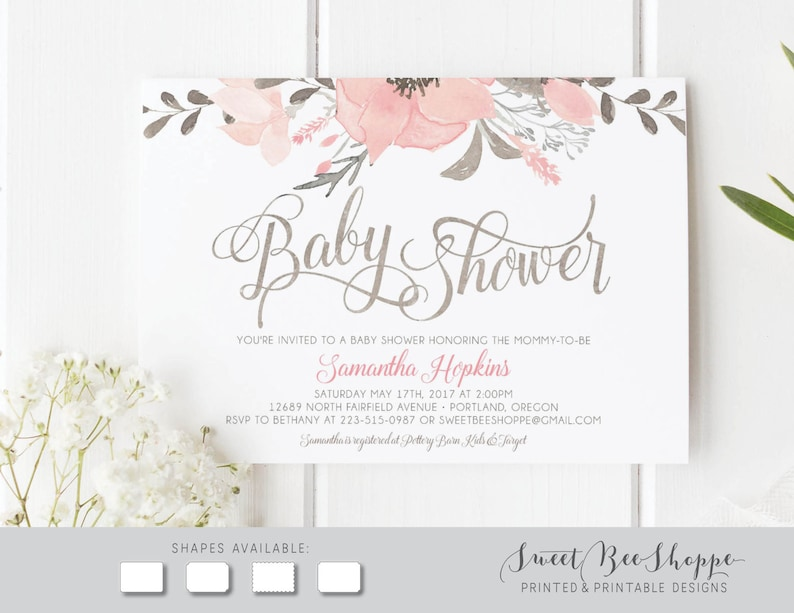 Pink Floral Baby Shower Invitation: Girl Baby Shower Invite Flowers Printable DIY Invitation Peach Baby Girl Shower Invitation; Boho