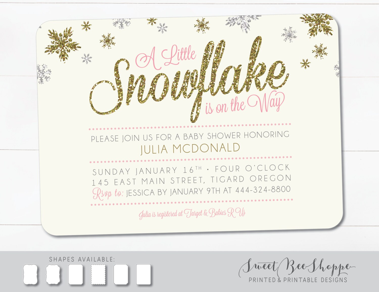 Snowflake winter themed baby shower invitation a little etsy zoom filmwisefo