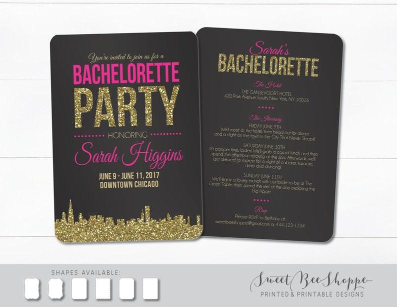Bachelorette Party Invitation Chicago Bachelorette Invite Chicago Bachelorette Party Invite Chicago Skyline Bachelorette Invitation