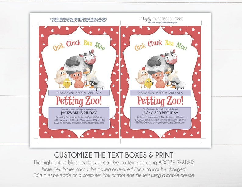 Petting Zoo Birthday Invitation Invite Kids Party Instant Download