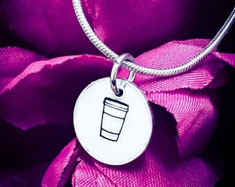 Takeaway Coffee Hand Stamped Necklace. Coffee Necklace, Coffee Jewellery, Latte Necklace, Cup Necklace, Coffee Gift, Caffeine, Coffee Lover