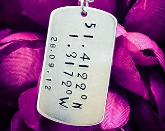 Custom Coordinates & Date Hand Stamped Necklace. Longitude Latitude Necklace, Coordinates Jewelry, Coordiantes Necklace, Dog Tag Necklace