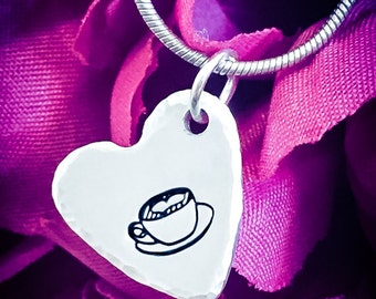 Coffee Cup Hand Stamped Necklace. Heart Necklace, Heart Jewelry, Coffee Necklace, Coffee Jewelry, Latte Necklace, Caffeine Jewelry