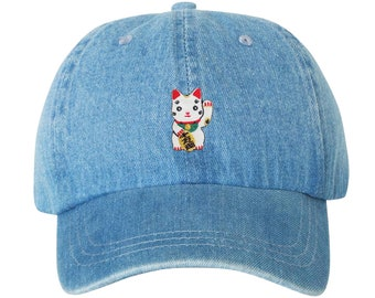 Premium Unstructured Japanese Lucky Cat Low Profile Dad Hat Maneki Neko  Adjustable W  Brass Closure Patch   Free Domestic Shipping   17d181576793