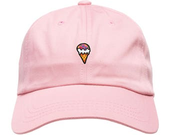 7b7af894526 Ice Cream Hat Dad Hat Unstructured Adjustable W  Brass Closure Foodie Hat  Patch   Free Domestic Shipping