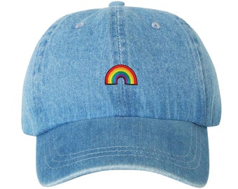 cf00853e6b6 Premium Rainbow Hat Dad Hat Unstructured Adjustable W  Brass Closure Queer Gay  Pride LGBTQA Homosexual Patch   Free Domestic Shipping