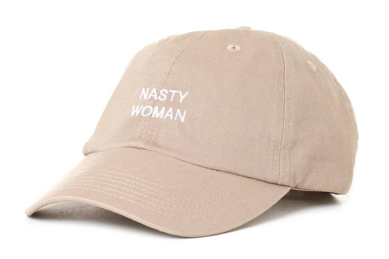 c9e66dac6cefe Khaki Dad Hat Nasty Woman Barack Obama Low Profile Cap Free