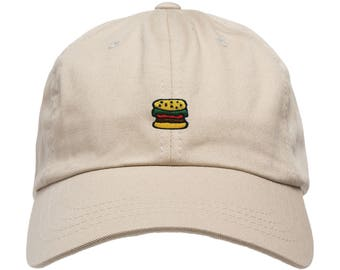 Hamburger Hat Dad Cap Unstructured Adjustable W/ Brass Closure Foodie Hat Patch **Free Domestic Shipping**