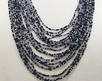 Black Multi Strand Beaded Necklace / Black Multi Strand Long Necklace.