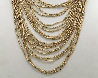Gold Multi Strand Beaded Necklace / Gold Multi Strand Long Necklace.