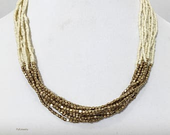 Beige and Gold Multi Strand Beaded Necklace / Beige and Gold Beaded Bib Necklace.