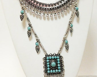 Silver Tibetan Style Necklace / Silver and Turquoise Beads Statement Necklace.
