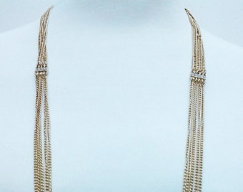Gold Chain Multi Strand Necklace / Multi Strand Crystal Clear Long Necklace.