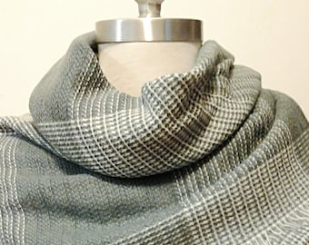 Gray and White Plaid Blanket Scarf / Oversized Chunky Scarf/ Chunky Blanket Scarf / Christmas Gift.