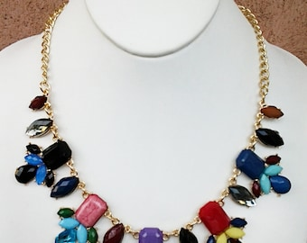Multi Colored  Statement Necklace with Gold Chain /Bib Necklace.