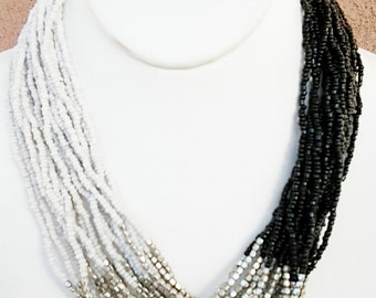 White, Silver and Black Beaded  Necklace /  Multi Strand / Statement Necklace / Bib Necklace