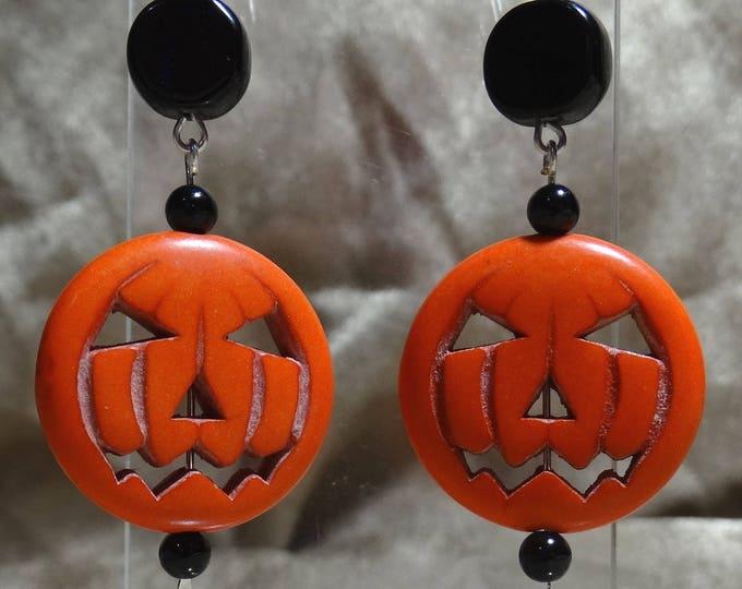 Stone Pumpkin and Onyx Earrings