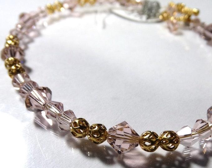 Pink and Gold Swarovski Crystal Bracelet