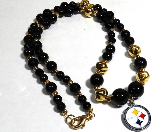 Pittsburgh Steelers Logo Necklace - Onyx and Gold