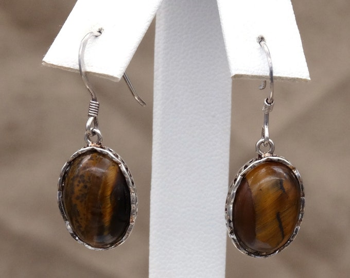 Tigers Eye Cabochon and Sterling Silver Earrings