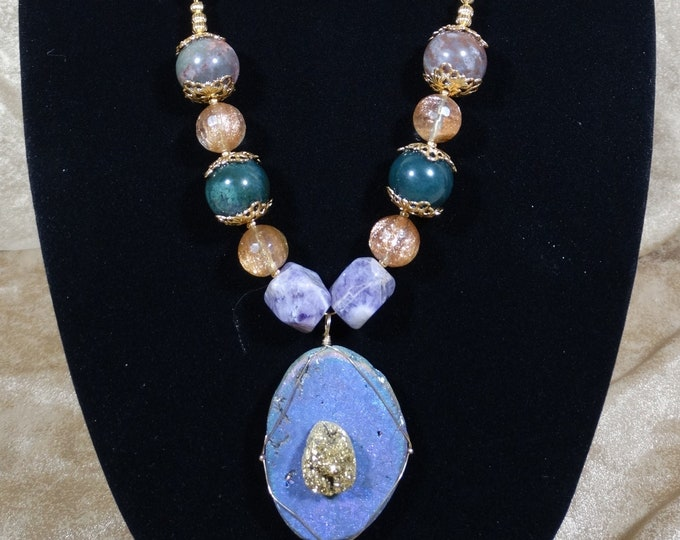 Amethyst, Agate & Quartz Boho Chic Satin Strand Necklace