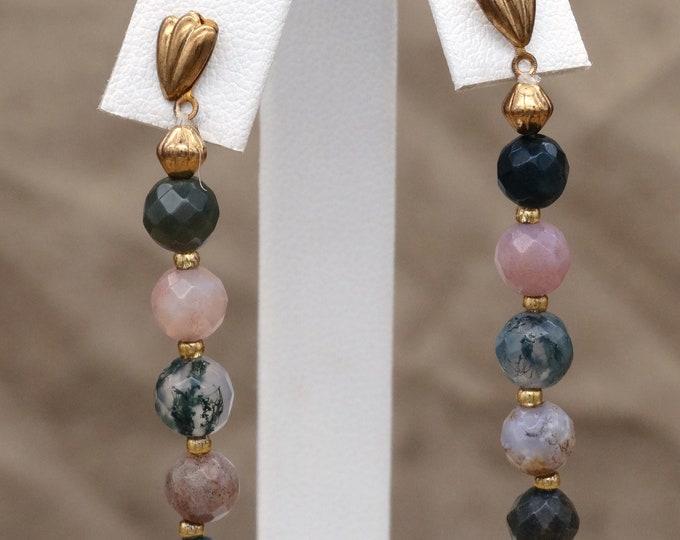 Blended Agate Dangle Earrings