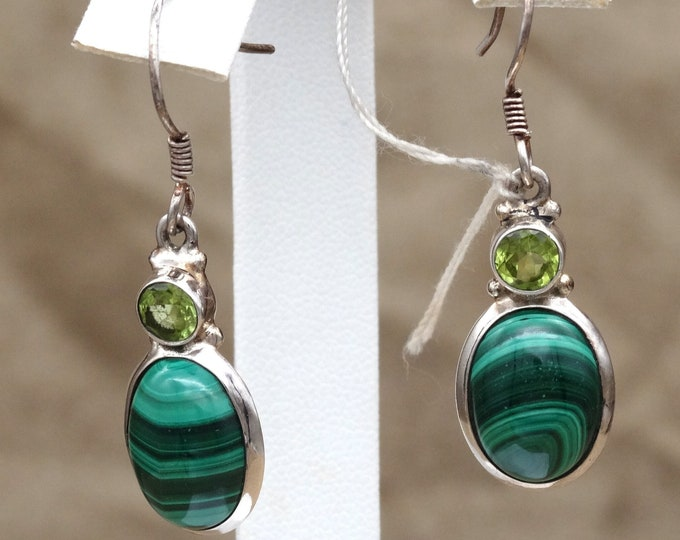 Malachite, Peridot and Sterling Silver Dangle Earrings