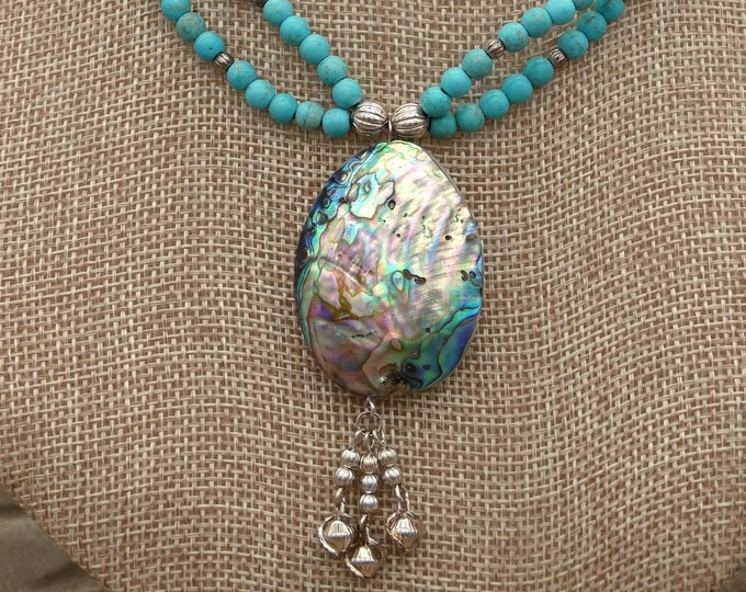 Abalone and Natural Magnesite Necklace