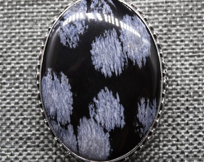 Snowflake Obsidian and Sterling Silver Pendant