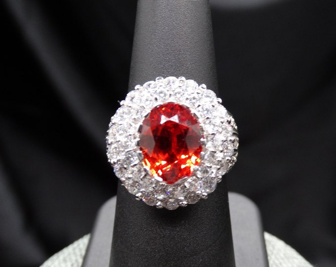 Padparadascha Sapphire with White Sapphire Accents