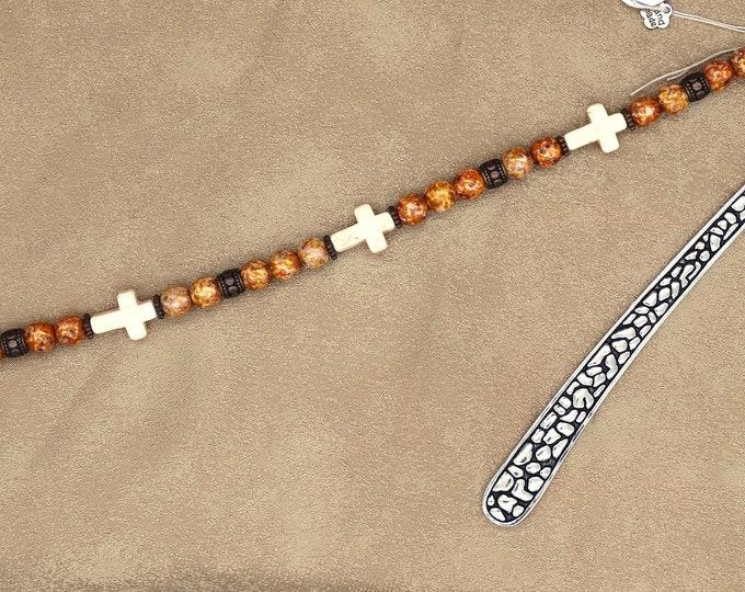 White Turquoise Cross Bookmark
