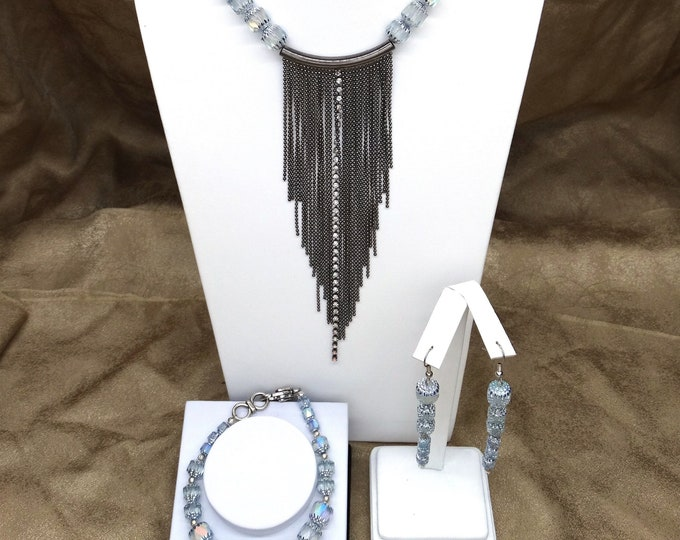Crystaled and Cathedral Fringe Set  - Necklace, Bracelet and Earrings