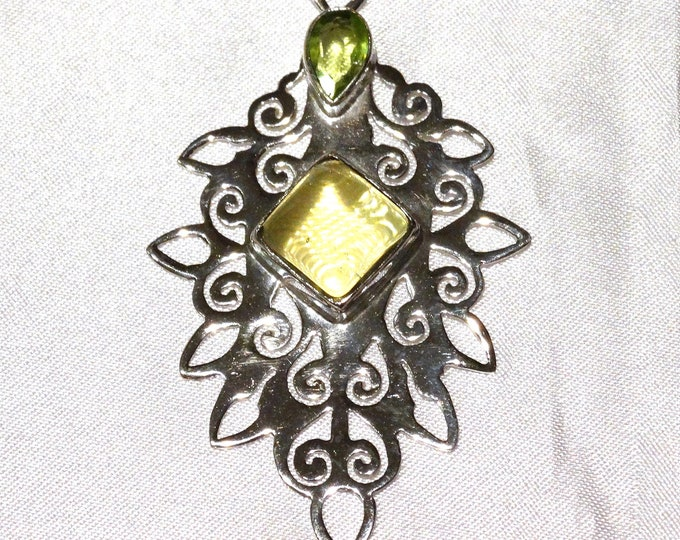 Sterling Silver, Citrine and Peridot Pendant