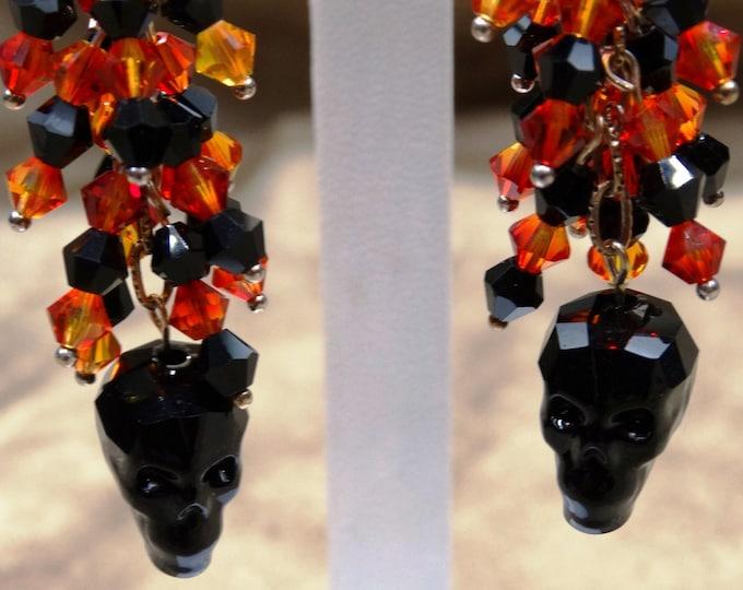 Swarovski Crystal Skull Dangles - Halloween