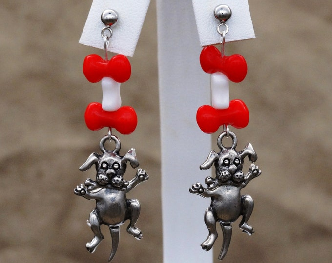 Moving Pudgy Puppies with Red and White Bones Dangle Earrings